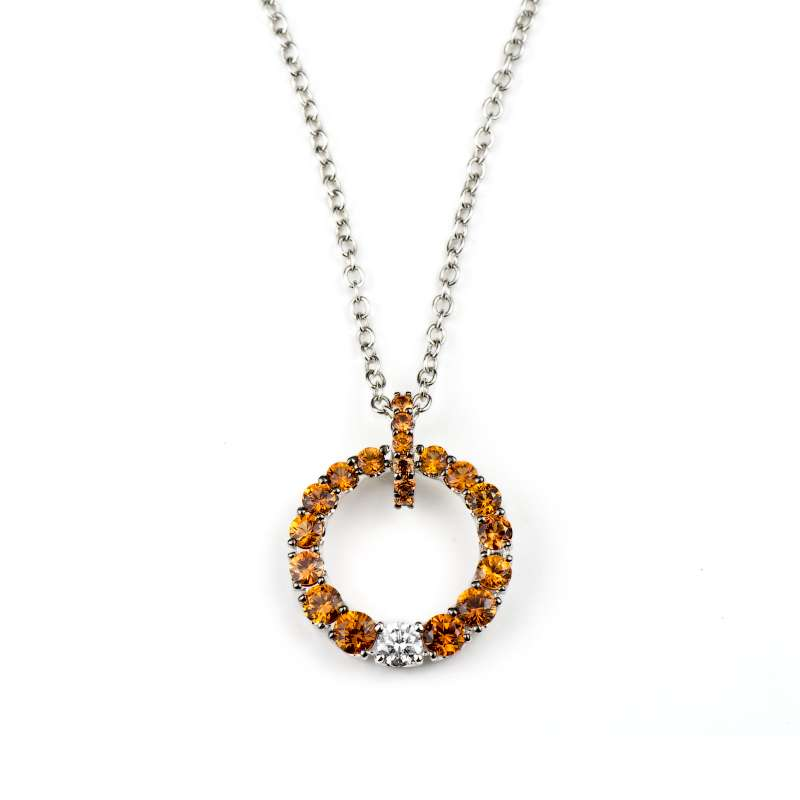 18k white gold orange sapphire diamond circle pendant rich 18k white gold orange sapphire diamond circle pendant aloadofball Image collections